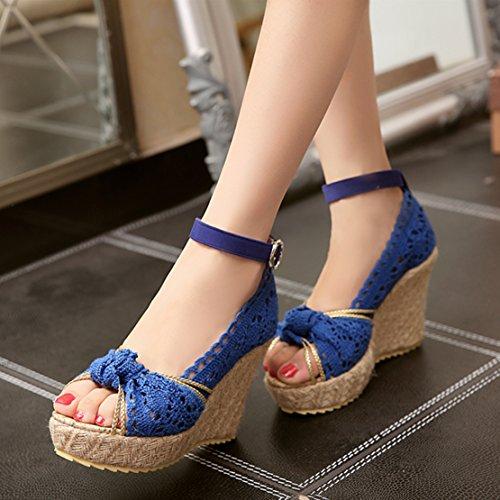 AIYOUMEI Damen Peep Toe Knöchelriemchen Keilabsatz Sandalen mit Spitz und Schleife Elegant Sommer Schuhe Blau
