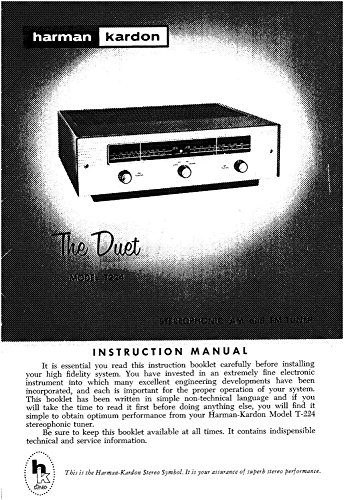 Harman Kardon T-224 Tuner Owners Manual [Plastic Comb] [Jan 01, 1900] Misc