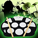 Digital Portable Silicone Electronic Roll-up Drum Pad - Flexible Mat, 9 Drums, Included Drumsticks and Pedals