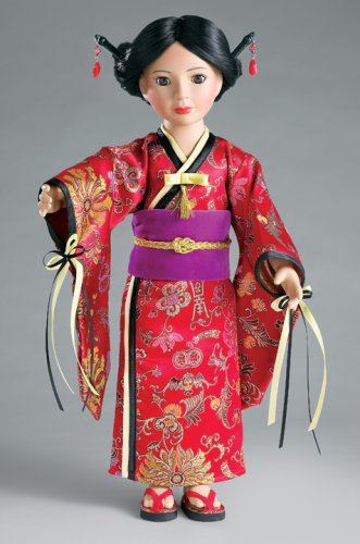 Japanese Kimono with Obi Sash, Sandals and Hair Sticks for 18