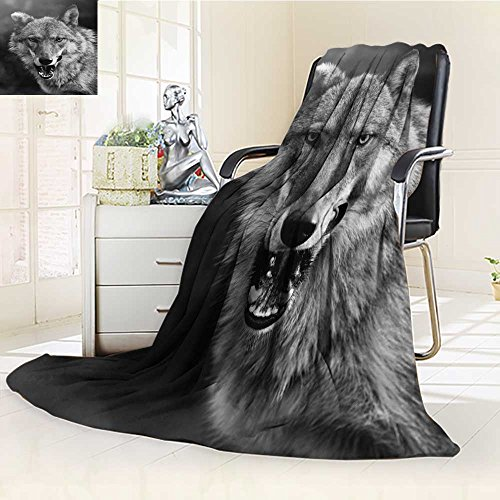 Fleece Blanket 300 GSM Anti-Static Super Soft Hungry Wolf Warm Fuzzy Bed Blanket Couch Blanket(60