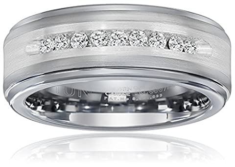 Triton Men's Tungsten and Silver 8mm Comfort Fit Diamond Wedding Band (1/4cttw, I-J Color), Size - Sterling Silver Diamond Antique Ring