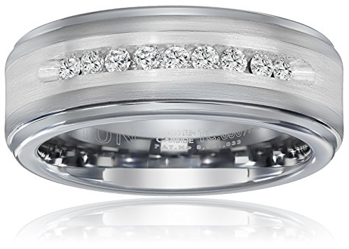 Triton Men's Tungsten and Silver 8mm Comfort Fit Diamond Wedding Band (1/4cttw, I-J Color), Size 11.5 by Amazon Collection