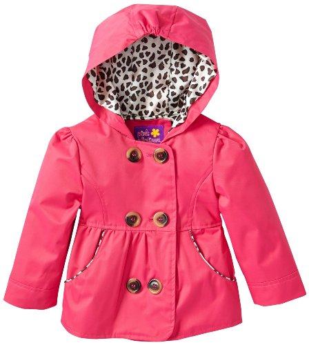 Pink Platinum Baby Girls Infant Double Leopard Outerwear Raincoat Jacket, Fuchsia, 18 Months