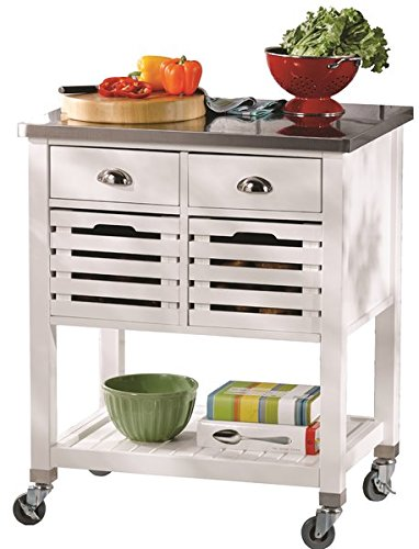 Lovely Casual Kitchen Cart, Stainless Steel Top, 2 Drawers, 2 Removable Pull Out Baskets, Bottom Shelf, Ample Storage Space, 4 Wheels, Can be Used as a Microwave Cart, White Finish