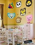 7 Large Emoji Animal Faces Wall Decal Sticker #6057 ( Tiger, Lion, Panda, Koala Bear, Pig, Monkey & Rainbow Poop ) 20inch each