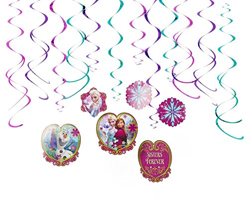 American Greetings Frozen Hanging Swirl Decorations, 12-Count -