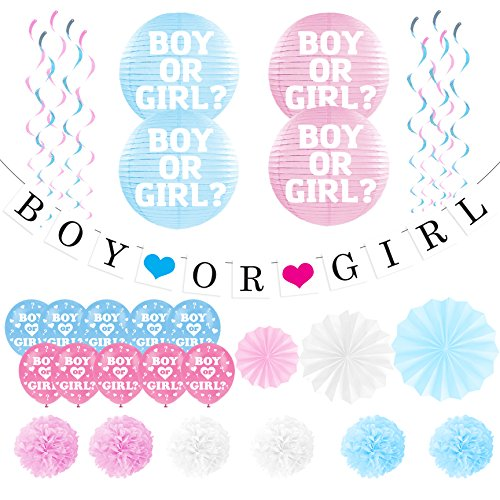 "Gender Reveal Party Pack - Baby Shower Decorations - ""Boy or Girl"" Banner and Balloons by Sterling James Co. - Pregnancy Announcement"