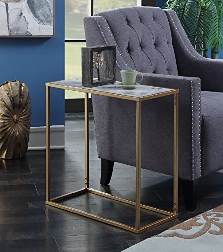 Convenience Concepts 413425M Gold Coast Faux Marble Chairside Table,
