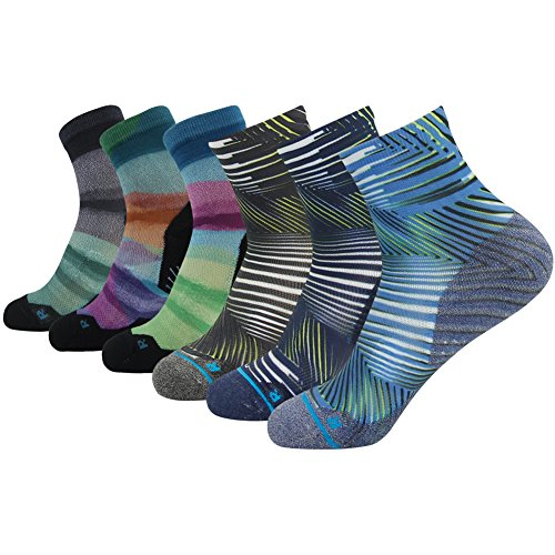 Striped Letter Printing - Crazy Running Socks, HUSO Men's Women's Assorted Fashion Style Striped Printed Anti-bacterial Athletic Gift Socks 6 pairs (Multicolor,L/XL)