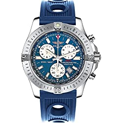 Breitling Colt Chronograph Stainless Steel on Blue Rubber Strap Men's Watch