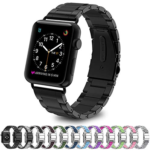 Greeninsync Compatible Apple Watch Bands 42mm Metal, Special Edition Stainless Steel Wristbands Buckle Clasp Watch Strap Replacement Bracelet W/Silicone Cover Black for Apple Watch Series 3/2/1
