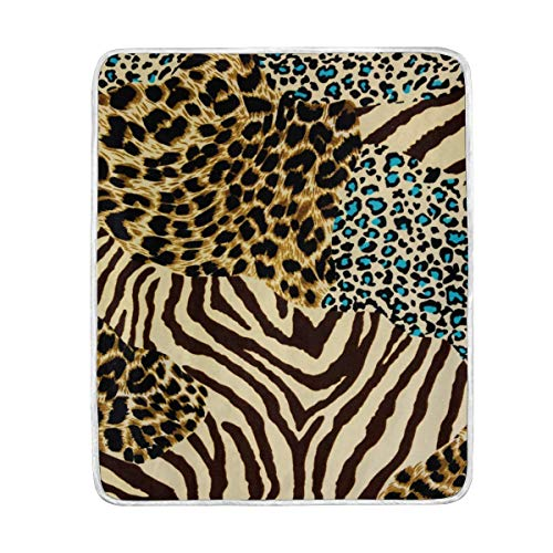 Mesllings Animal Zebra Tiger Print Velvet Plush Throw Blanket Cozy Warm Lightweight Blankets for Living Room Outdoor Travel 50x 60 ()