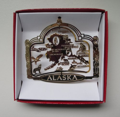 Alaska State Brass ORNAMENT Souvenir Gift Fairbanks Anchorage Ketchikan Juneau Kodiak Island (Alaska Ornament Christmas)