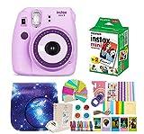 Fujifilm Instax Mini 9 Camera + Instant Camera Purple Set+Fuji Instax Mini Film + Instax Mini 9 Case + Instax Accessories Kit Bundle, Instant Camera Gift Sets - Light Purple