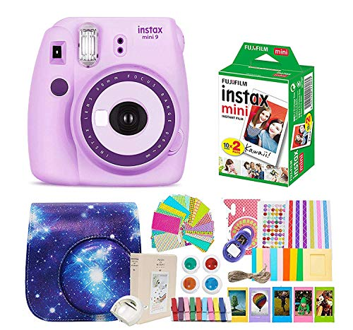 Fujifilm Instax Mini 9 Camera + Instant Camera Purple Set+Fuji Instax Mini Film + Instax Mini 9 Case + Instax Accessories Kit Bundle, Instant Camera Gift Sets – Light Purple