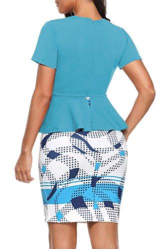 Coctel Oficina De Mujer Vestido Lápiz Falda La Azul Manga Corta YACUN De Fiesta ZTw416