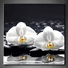 Still Life With Three Orchid On Pebbles Reflection Wall Art Painting The Picture Print On Canvas Flower Pictures For Home Decor Decoration Gift