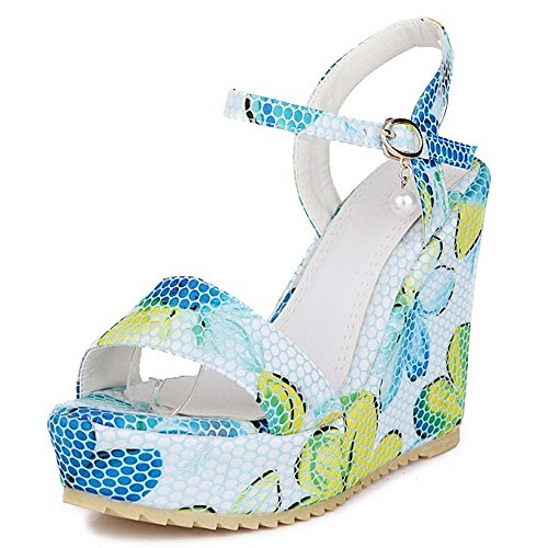 LongFengMa Fashion Ladies Floral Ankle Strap High Heels Wedges Sandals Shoes Blue g77hQ