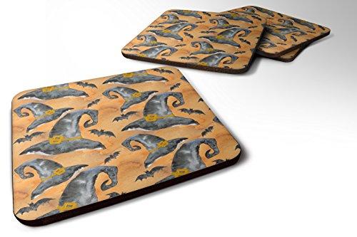 (Caroline's Treasures BB7523FC Set of 4 Watecolor Halloween Witches Hat Foam Coasters Set of 4, 3 1/2 x 3 1/2, multicolor)