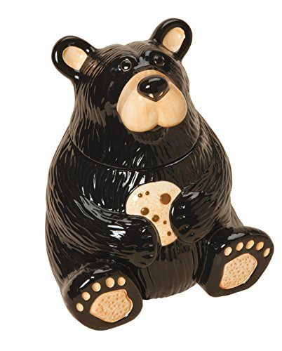 (Cute Bear With Cookie Classic Black 12 x 9 Glossy Ceramic Cookie Jar Container)