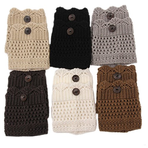WRISTCHIE Womens Fashion Knited Short Boot Cuffs Lace Leg Warmers(Pack of 6) -
