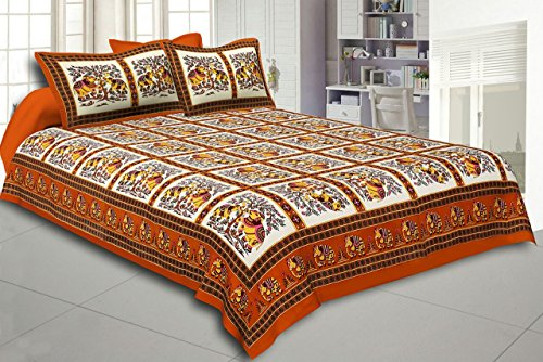 Double Bedsheet With 2 Pillow Covers Fitted Double Bed Sheet Double  Bedsheet Cotton Printed Bed Cover
