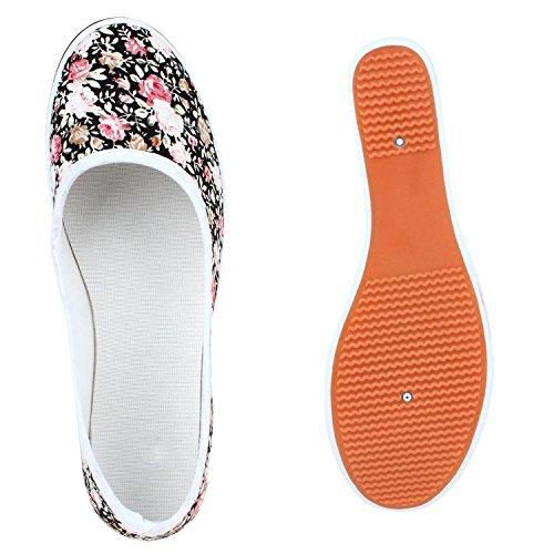 Stiefelparadies Sportliche Damen Pumps Ballerina Slipper Glitzer Stoffschuhe Denim Keilabsatz Schuhe Wedges Pumps Flandell Weiss Blumen