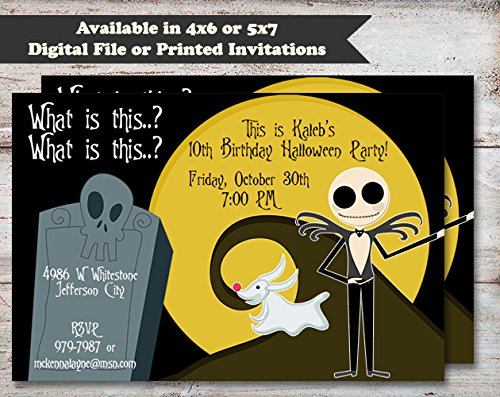 Nightmare Before Christmas Halloween, Costume or Birthday Party Invitation, Set of 10 5