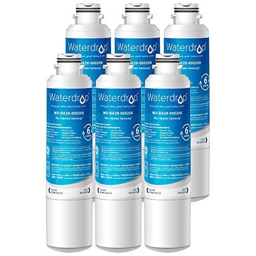 Waterdrop DA29-00020B Refrigerator Water Filter, Compatible with Samsung DA29-00020B, DA29-00020A, HAF-CIN/EXP, 46-9101, Standard, Pack of 6