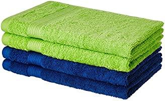 Solimo 4 Piece 500 GSM Cotton Hand Towel Set - Iris Blue and Spring Green