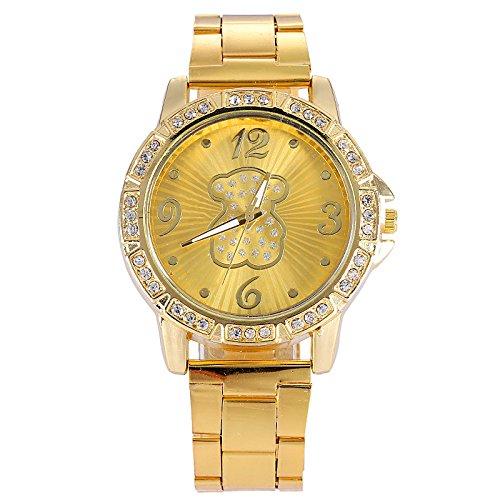 Relojes Mujer Fashion famosos marca to. US oso relojes mujeres hombres reloj de pulsera de cuarzo, acero inoxidable), color dorado montre femme: Amazon.es: ...