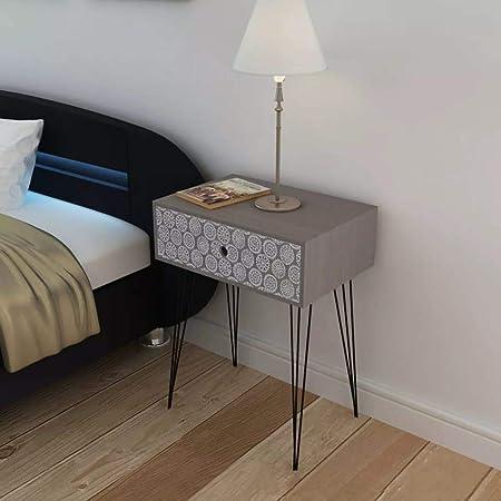 Zora Walter Noche Mesa con 1 cajón Rectangular Gris Dormitorio ...