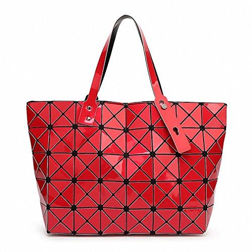 BaoBao Women Bao Bao Bag Ladies Geometric Sequins Mirror Saser Plain Folding Handbag Mujer Mosaic Shoulder Bags Top Handle Tote Red