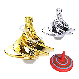 Spinning Top,Tornado Gyroscope ,Wind Blow Turn Gyro Desktop Decompression Toys ,A New take on Spin Top for Children and Adults Gift for Christmas (Gold, Silver)