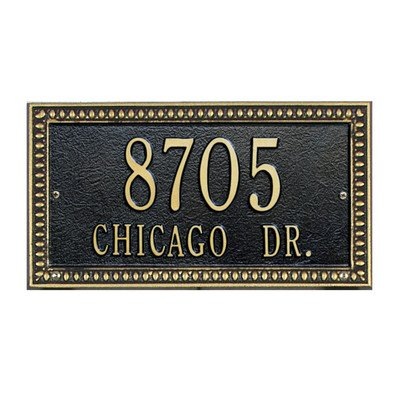 Whitehall Egg and Dart Standard Address Plaque Finish: Black and Gold