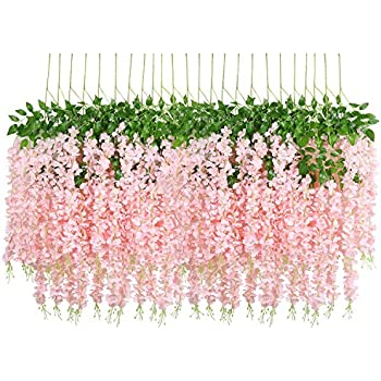 U'Artlines 24 Pack 3.6 Feet Artificial Fake Wisteria Vine Ratta Hanging Garland Silk Flowers String Home Party Wedding Decor Extra Long and Thick (24, Light Pink)