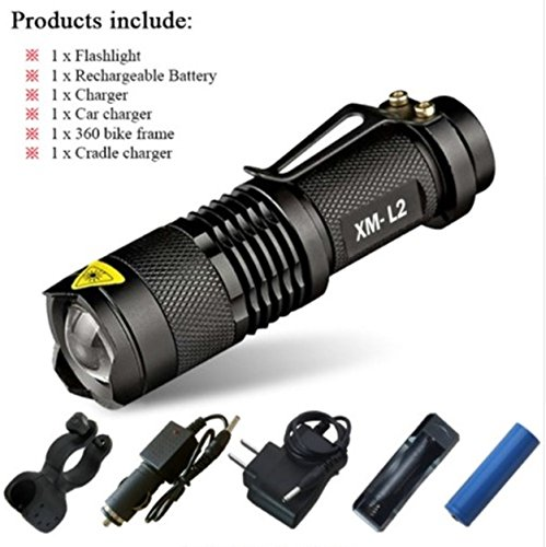- 1 Pack 3800 Lumen CREE XM-L T6 LED Flashlights 5 Modes Mini 10W IPX-6 Flashlight Hair-raising Fashionable Ultra Xtreme Tactical Military Waterproof Outdoor Hunting Camping Bright Light, Type-03