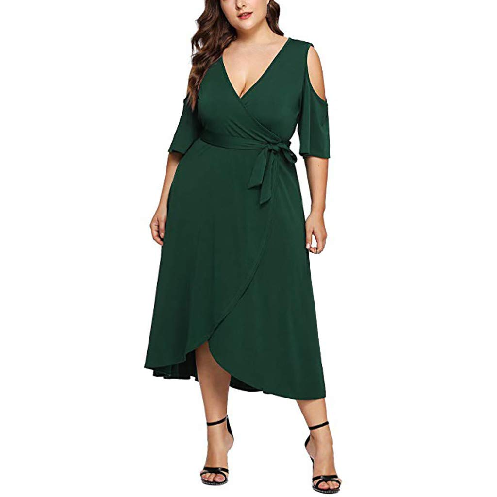 HOMEMUNI Women Casual V-Neck Dress, Ladies Off Shoulder Long Sleeve Solid Long Dress Solid Skirt Plus Size L-3XL Green