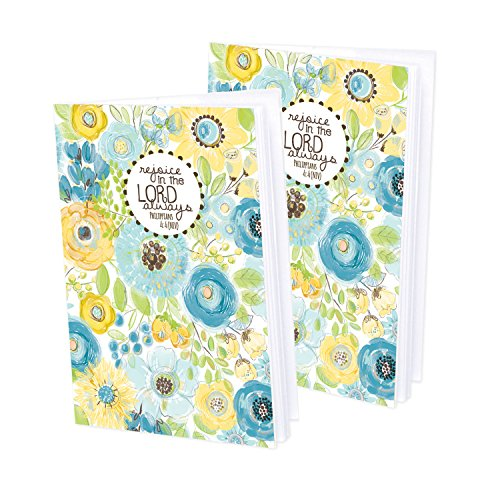 Thought Mini Journals (Set of 2- Yellow and Blue Flowers Mini-Journal blank notebook with scripture)
