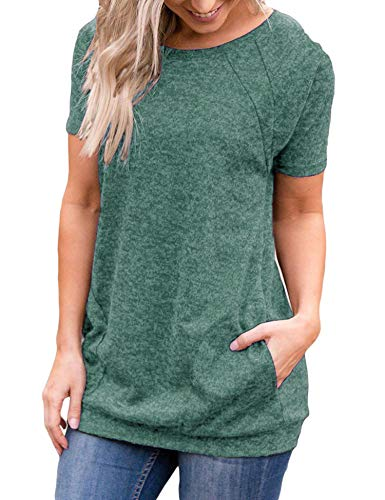 Uniboutique Womens Casual Loose Round Neck Tunic T Shirts Tops Dark Green ()