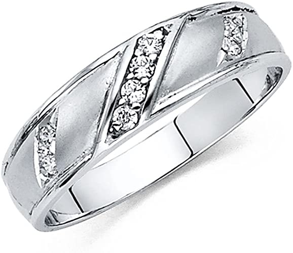 Jewels By Lux 14K Gold Ring Round Cubic Zirconia Mens Anniversary Wedding Band