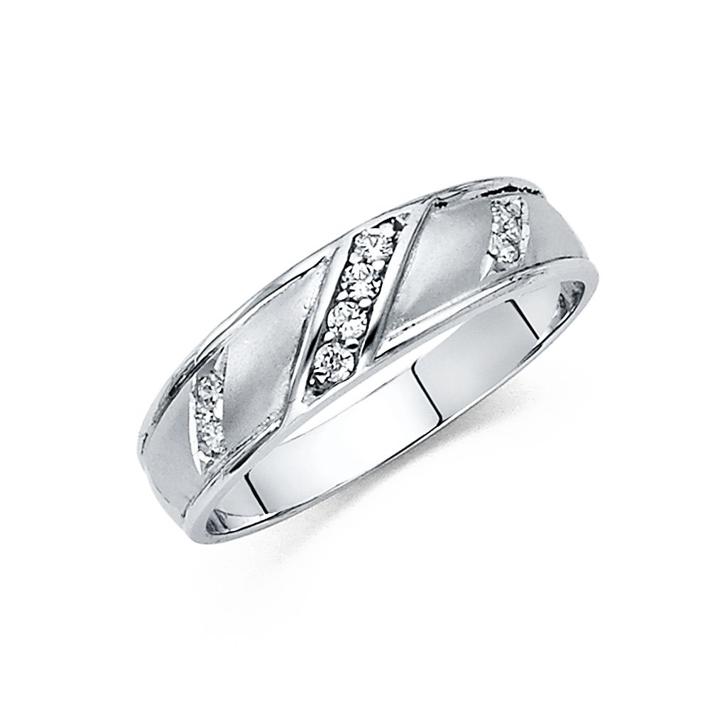 Wellingsale Men's Solid 14k White Gold Polished CZ Cubic Zirconia Wedding Band - Size 11