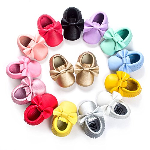 Royal Victory Baby Boys Girls Shoes Soft Sole 0-18 Months Toddler PU Moccassins Crib Shoes with Cute Bowknots Tassels