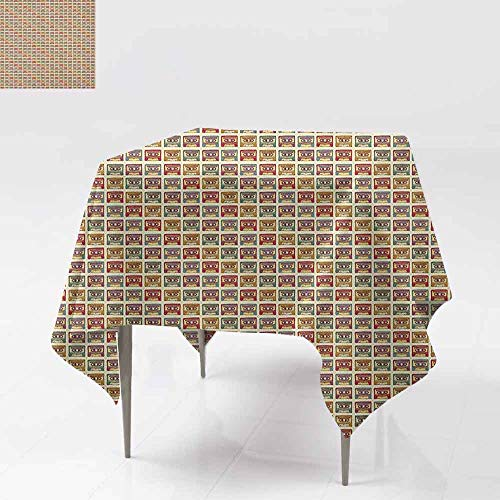 AndyTours Washable Square Tablecloth,Retro,Old Audio Cassettes Vintage Elements Listening to Music Theme Recording Technology,Party Decorations Table Cover Cloth,70x70 Inch Multicolor]()