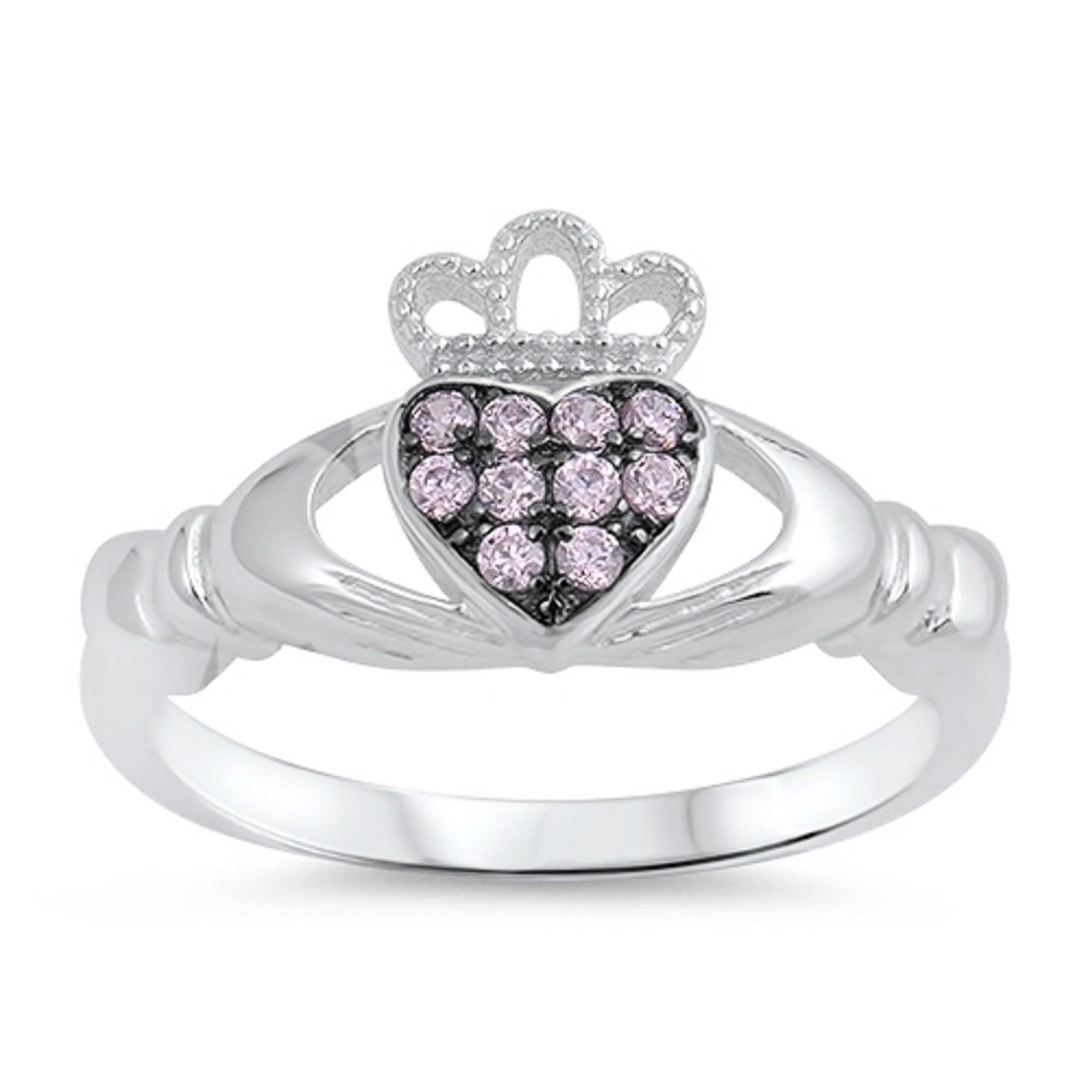 CloseoutWarehouse Pink Cubic Zirconia Love of Claddagh Ring Sterling Silver