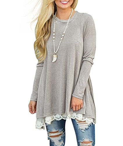 MOLERANI+Women%27s+Casual+Long+Sleeve+Simple+T-shirt+Loose+Tunic+Top+Blouse+Light+Grey+L