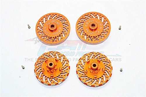 Traxxas E-Revo Brushless Edition Upgrade Pièces Aluminium Wheel Hex Claw +2mm With Brake Disk - 4Pcs Set Orange