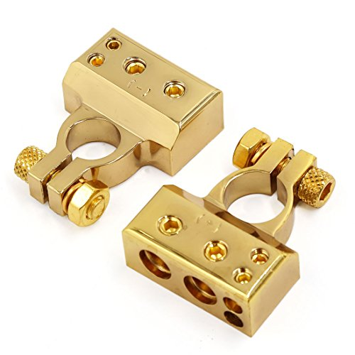 uxcell Pair Gold Tone Car Postive Negative Battery Terminals Clamp 2 8 Gauge