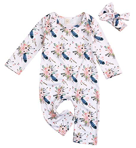 Happy Town Baby Girls Jumpsuit Hoodie Romper Outfit Long Sleeve Creepers Bodysuit Clothes Easter Gift (White, 12-18 Months)